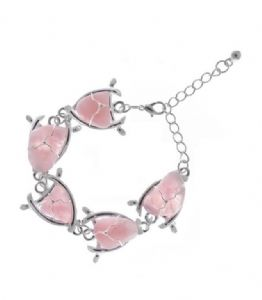 Stylish Rose Quartz Stone Triangle Shaped Fashion Bracelet